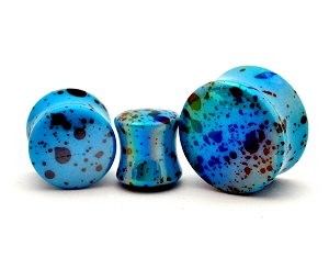 Acrylic Blue Opalescent Splatter Double Flared Plugs