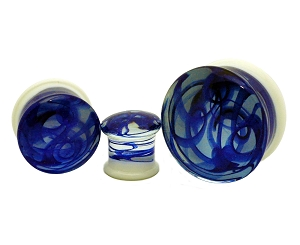White Glass Plugs with Blue Swirls
