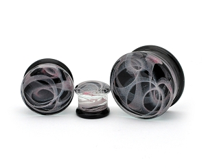 Glass Plugs with Light Purple Swirls