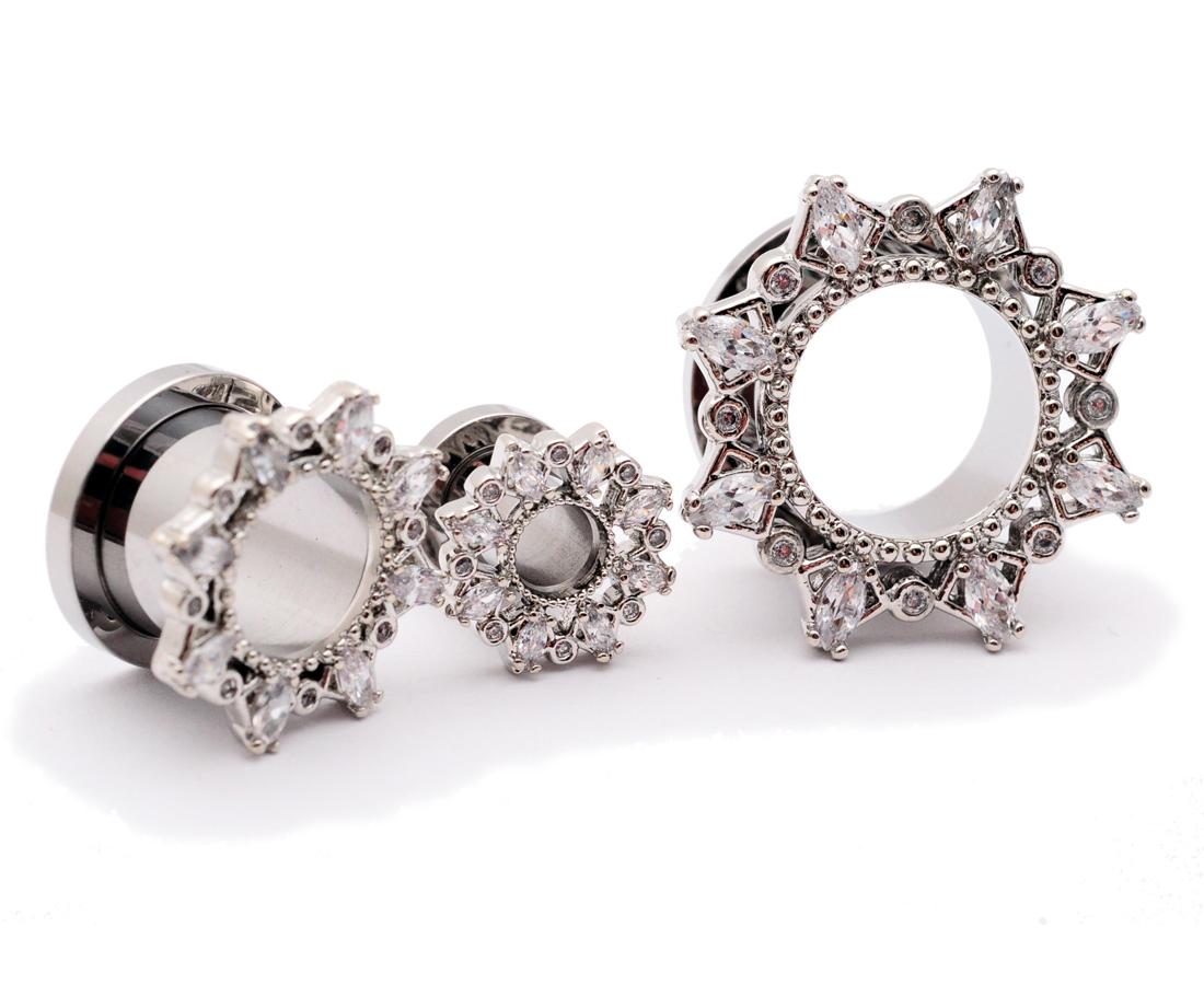Mystic Metals Body Jewelry Set of 3 Pairs Steel Screw on Tunnels 5//8-16mm - Black, Gold, Steel