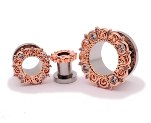 316L Steel Screw on Tunnels with Rose Gold Filigree