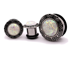 316L Steel Single Flare Plugs with Brass top and Faux Opal
