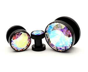 316L Black Steel Screw on with Multicolored Press Fit CZ
