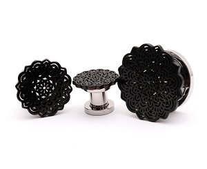 316L Steel Screw on Plugs with Black Flower Top