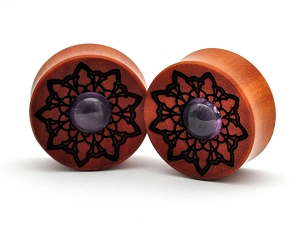 Laser Engraved Saba Wood Mandala Plugs with Amethyst Inlay Style 2