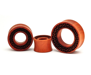 Laser Engraved Aztec Saba Wood Tunnels