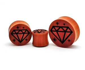 Laser Engraved Diamond Saba Wood Plugs