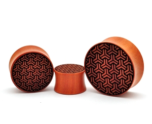 Laser Engraved Geometric Pattern Saba Wood Plugs