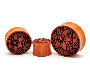 Laser Engraved Offset Floral Saba Wood Plugs