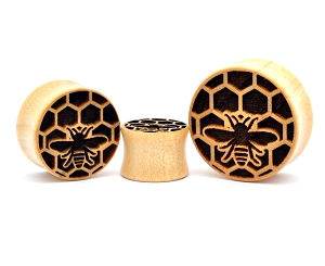Laser Engraved Honey Bee Crocodile Wood Plugs