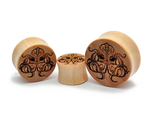 Laser Engraved Octopus Crocodile Wood Plugs