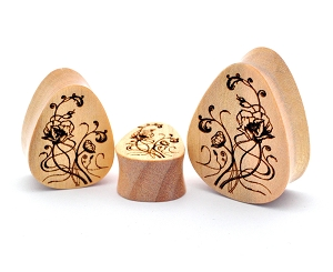 Laser Engraved Nouveau Floral Teardrop Wood Plugs