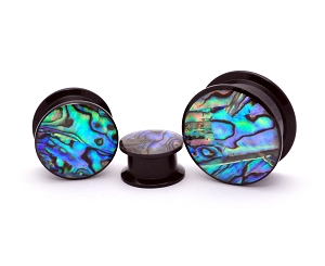 Black Acrylic Embedded Abalone Plugs