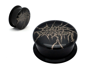 Black Acrylic Cattle Decapitation Logo Picture Plugs