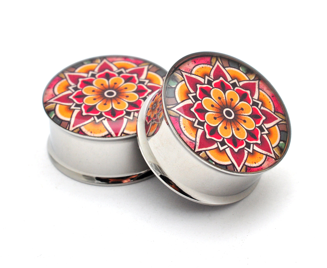 Sold As a Pair Flower Mandala Picture Plugs Screw on Plugs
