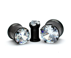 316L Black Steel Prong Set CZ Double Flare Tunnels