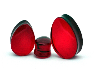 Red Teardrop Glass Plugs