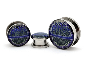 Rings of Saturn Blue Logo Steel Picture Plugs