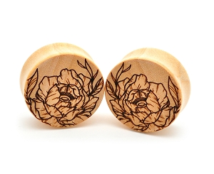 Laser Engraved Offset Floral Style 3 Wood Plugs