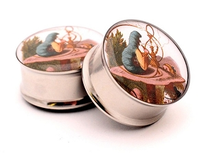 316L Stainless Steel Alice Style 4 Picture Plugs