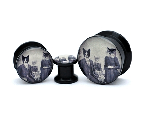 Black Acrylic Cat Family Picnic Picture Plugs