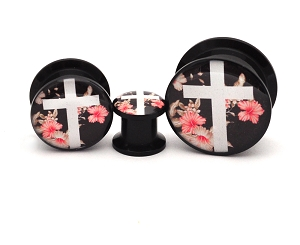 Black Acrylic Floral Cross Picture Plugs