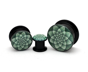 Black Acrylic Green Lotus Picture Plugs