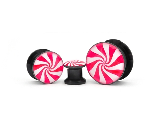 Black Acrylic Peppermint Picture Plugs