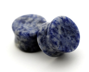 Blue Lapis Double Flare Plugs (Sold in pairs)