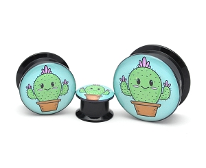Black Acrylic Cute Cactus Picture Plugs