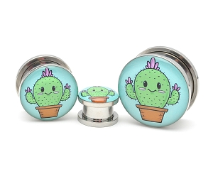 316L Stainless Steel Cute Cactus Picture Plugs