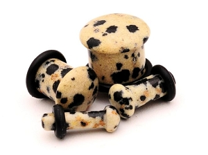 Dalmatian Jasper Stone Single Flare Plugs (Sold in pairs)