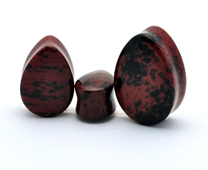 Mahogany Obsidian Teardrop Plugs (Sold in pairs)