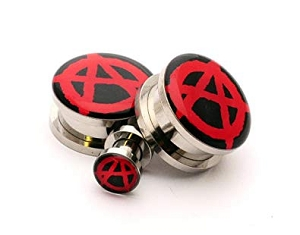 316L Stainless Steel Anarchy Picture Plugs