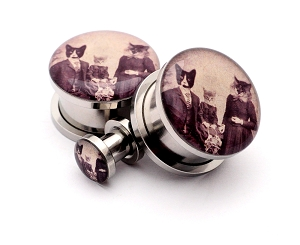 316L Stainless Steel Cat Family Picnic Picture Plugs