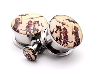 316L Stainless Steel Cats with Umbrellas Picture Plugs