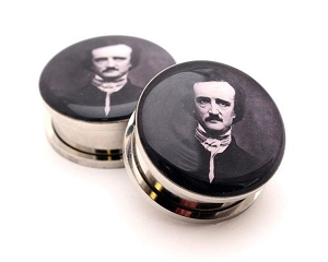316L Stainless Steel Edgar Allen Poe Picture Plugs