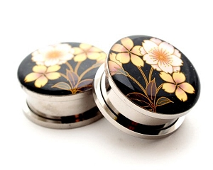 316L Stainless Steel Flower Style 4 Picture Plugs