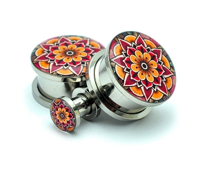 316L Stainless Steel Flower Mandala Style 2 Picture Plugs