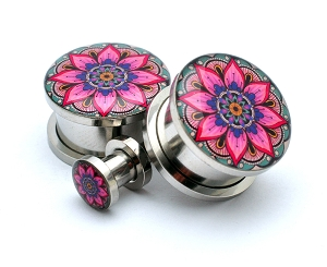 316L Stainless Steel Flower Mandala Picture Plugs