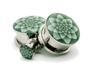 316L Stainless Steel Green Lotus Picture Plugs