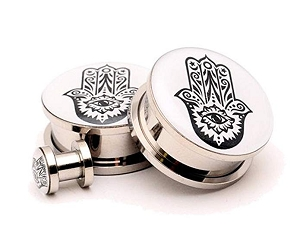 316L Stainless Steel Hamsa Picture Plugs