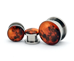 316L Stainless Steel Harvest Moon Picture Plugs