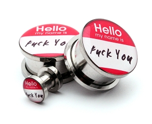 316L Stainless Steel Hello My Name Is Picture Plugs