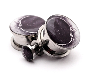 316L Stainless Steel Moon Style 2 Picture Plugs
