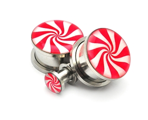 316L Stainless Steel Peppermint Picture Plugs