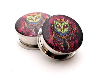 316L Stainless Steel Reaper Owl Picture Plugs