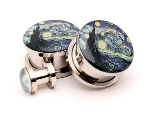 316L Stainless Steel Starry Night Picture Plugs