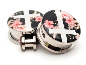 316L Stainless Steel Vintage Floral Cross Picture Plugs