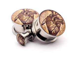 316L Stainless Steel Vintage Heart Picture Plugs